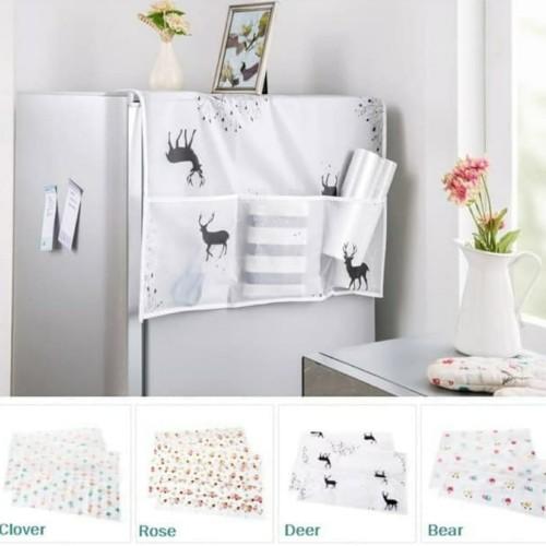 Foto Produk Sarung Penutup Kulkas Waterproof Cover Dengan Kantong Storage Pouch - Clover dari Home Diaries