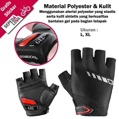 Foto Produk Sarung Tangan Gloves Sepeda RockBros Dengan Gel Half Finger Hitam - XL dari SepedaLova