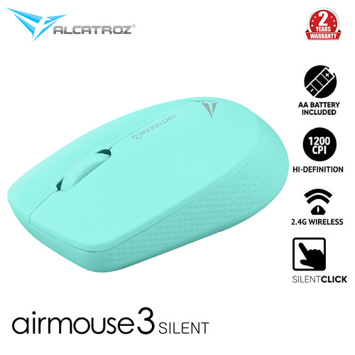 Foto Produk Alcatroz AirMouse 3 Silent And Portable USB 2.4G Wireless Mouse - Mint dari Alcatroz Official Store