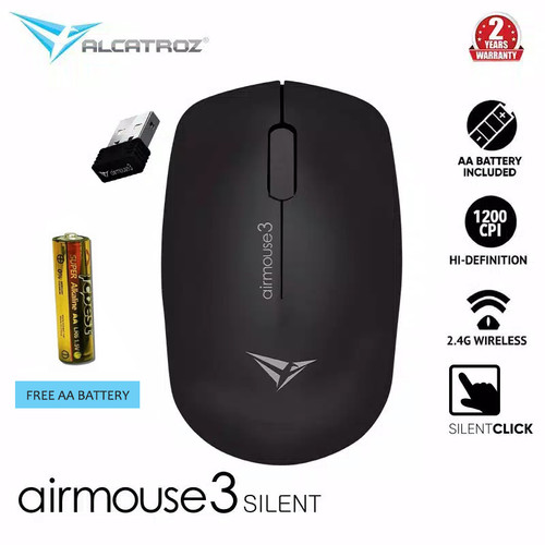 Foto Produk Alcatroz AirMouse 3 Silent And Portable USB 2.4G Wireless Mouse - Black dari Alcatroz Official Store