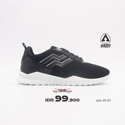 Foto Produk Aerostreet 40-43 Vorta Hitam - Sepatu Sneakers Sport Pria wanita - 40 dari Aerostreet