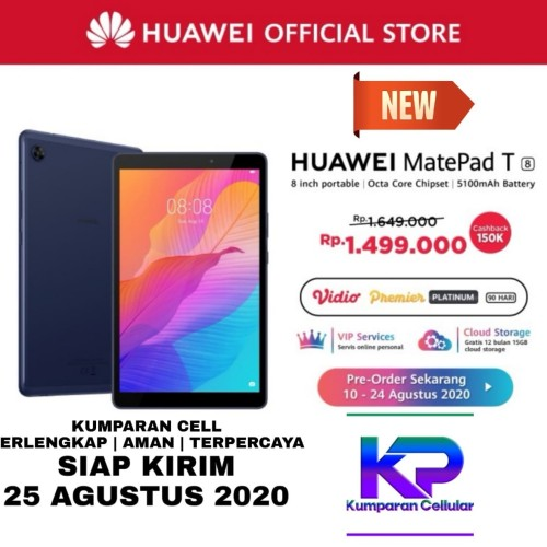 Foto Produk HUAWEI MATEPAD T8 2GB 32GB GARANSI RESMI - Blue+Flip Gold dari Kumparan Cellular
