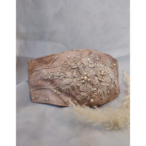 Foto Produk Masker Pengantin Handmade Salur Mokka Premium-Brokat/Payet/Embroidery dari jakahong studio
