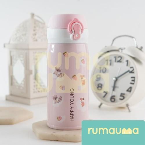 Foto Produk RUMAUMA Botol Minum Olahraga Anak Rakun Pink 350ml Stainless Thermos dari Rumauma