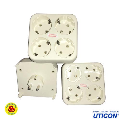 Foto Produk Uticon Stop Kontak 4 in 1 + Steker Plug S-448 NA Multi Socket 4 Lubang dari Gudang Listrik