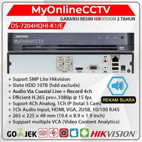 Foto Produk DS-7204HQHI-K1-E Hikvision DVR NVR Kamera 4Ch + 1IP Camera CCTV 4MP - BUNDLE 4TB dari myonlinecctv