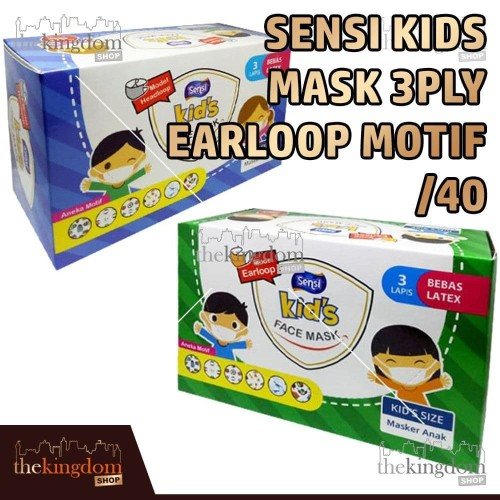 Foto Produk Sensi Kids Mask 3ply Headloop Earloop Motif /40 Masker Medis Anak - Headloop, Packing Plastik dari The Kingdom Shop