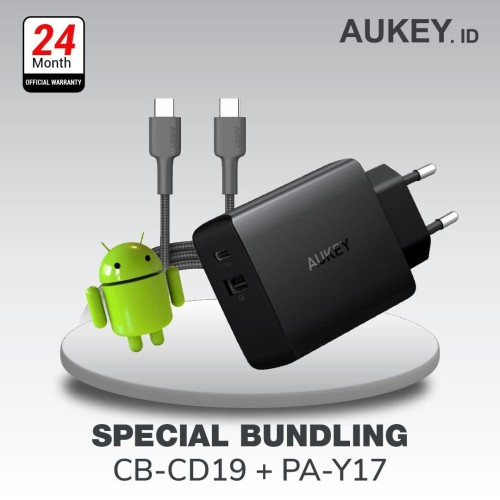 Foto Produk Aukey Charger PA-Y17 - 500335 + Aukey Cable CB-CD19 Black / Red dari AUKEY