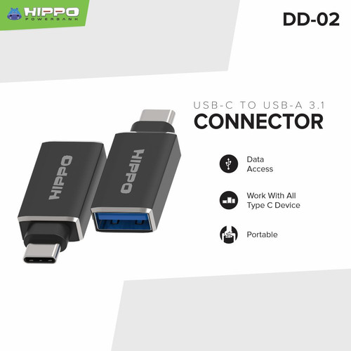 Foto Produk HIPPO OTG DD02 OTG Type C TO USB A 3.1 - Hitam dari Hippo Official Store