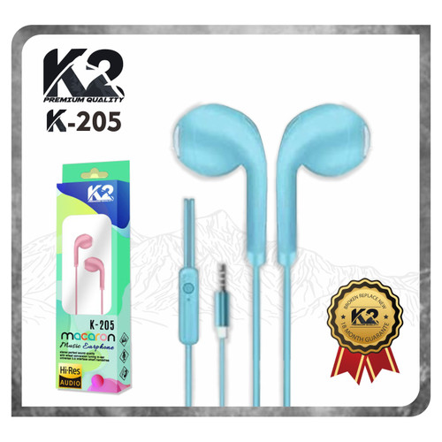 Foto Produk Headset / Handsfree K-205 MACARON K2 Premium Quality Super Bass Stereo - Tosca dari K2 Official Store