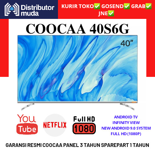 Foto Produk COOCAA LED TV 40 inch 40S6G Smart Android 9 Certified NETFLIX dari Distributor-Muda