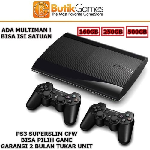 Foto Produk Sony PS3 Superslim 500GB Super Slim 500 GB Full Game OFW - 160GB 2 Stick dari Butikgames