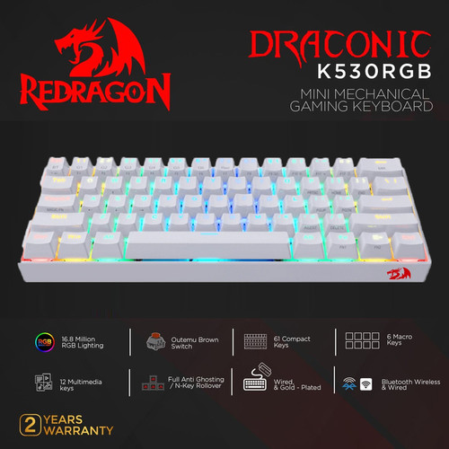 Foto Produk Redragon K530RGB Dual Mode Mechanical Gaming Keyboard DRACONIC - Putih dari manekistore