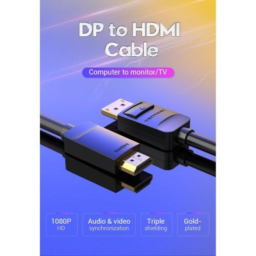 Foto Produk Vention HAD 3M Kabel Converter Display Port (DP) Male to HDMI Male dari XLink Surabaya