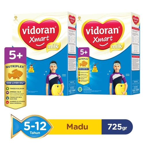 Foto Produk Vidoran Xmart 5+ Nutriplex Susu Formula Madu [725 g/2 pcs] dari Tempo Store Official