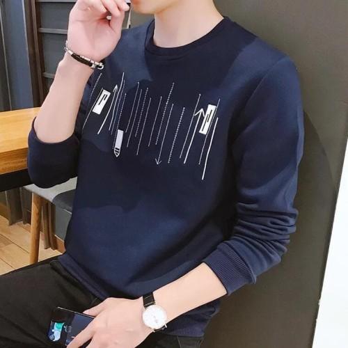 Foto Produk Atasan Baju Kaos Mido Lengan Panjang Cowok Pria Premium Murah Fashion - navy, M atau L dari queenlabel