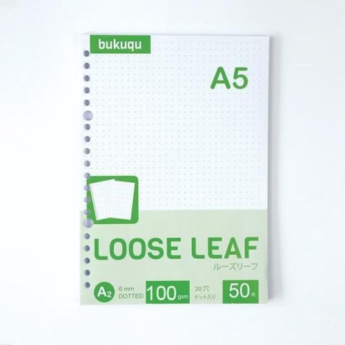 Foto Produk HVS Loose Leaf (DOTTED) Kertas Binder/ Isi Notes - (A5) 50 lbr dari Bukuqu