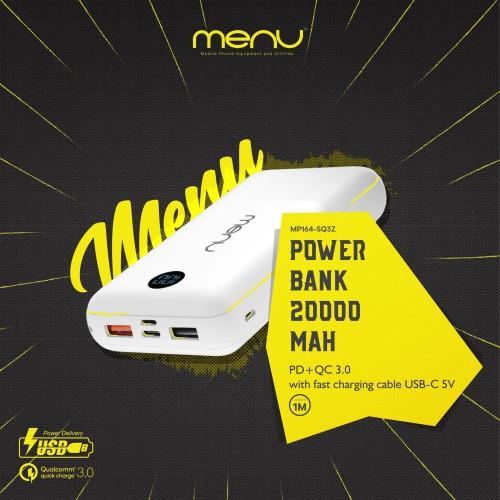Foto Produk MENU Powerbank 20.000 mAh + Fast Charging Cable USB-C 5V - Hitam dari MENU Official Store