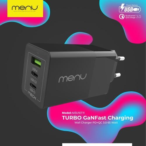 Foto Produk MENU Kepala Charger Turbo GaN Fast Charging Power Delivery 3.0 65 Watt - Hitam dari MENU Official Store
