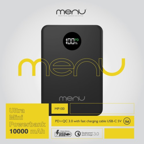 Foto Produk MENU Ultra Mini Powerbank 10.000 mAh + Fast Charging Cable USB-C 5V - Hitam dari MENU Official Store