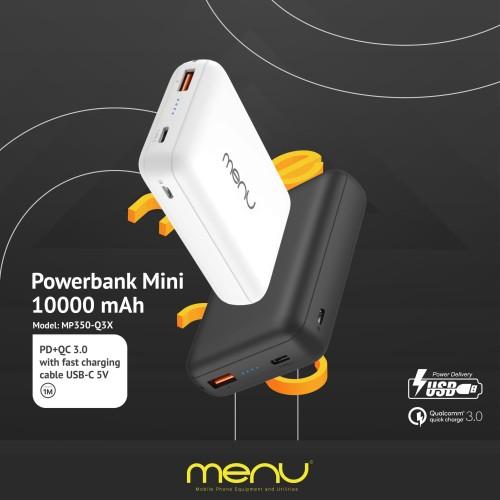 Foto Produk MENU Powerbank Mini 10.000 mAh + Fast Charging Cable USB-C 5V - Putih dari MENU Official Store