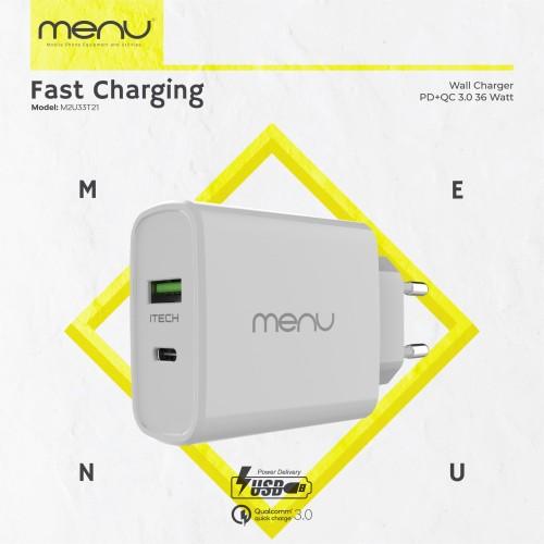 Foto Produk MENU Kepala charger - Fast Charging Power Delivery 3.0 36 WATT - Putih dari MENU Official Store