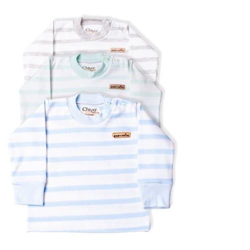 Foto Produk Atasan Bayi - CHIYO - Motif Putih Stripe Size L 1,5 - 2,5 Thn - Biru L dari Chiyo Babywear