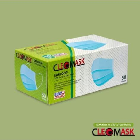 Foto Produk MASKER SURGICAL CLEOMASK 3PLY 1BOX ISI 50PCS MASKER MEDIS dari Nusantara Best Deal