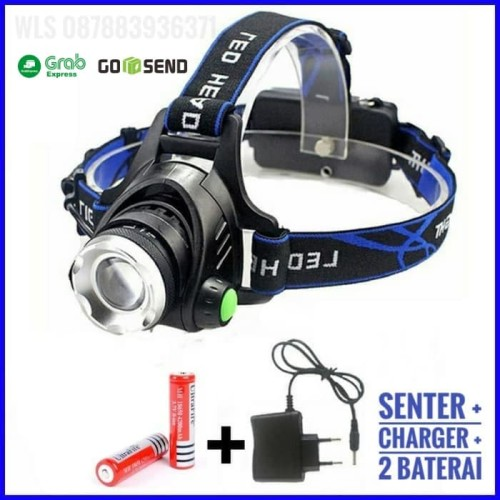 Foto Produk Paket Senter kepala / headlamp high power LED ZOOM charger + baterai dari Wali Limbung Store