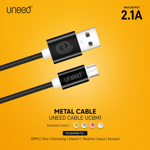 Foto Produk Uneed Nylon Kabel Data Micro USB Fast Charging 2.1A - UCBM1 - Merah dari Uneed Indonesia