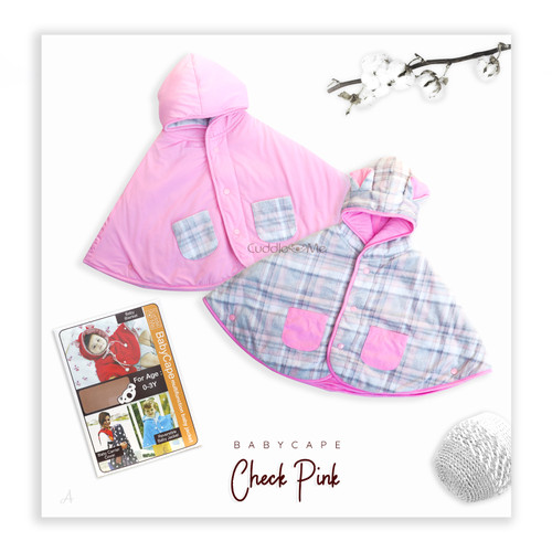Foto Produk Cuddle Me Baby Cape Jaket Bayi Mantel Selimut Bolak Balik Multifungsi - Check Pink dari Wafi Bebe