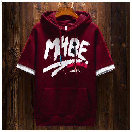 Foto Produk FortKlass MABE Sweater Hoodie Zipper Pria Lengan Pendek Sablon - Maroon dari FortKlass