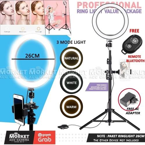 Foto Produk PAKET RING LIGHT LED 26CM Lampu Make Up, Vlog, Meeting Zoom, Streaming dari Market ACC Camera