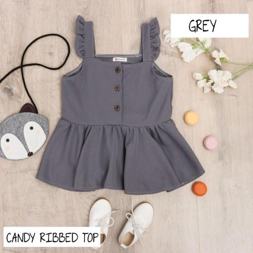 Foto Produk BAJU DRESS ANAK PEREMPUAN, CANDY RIBBED TOP WARNA GREY - 3 tahun dari uWa_store