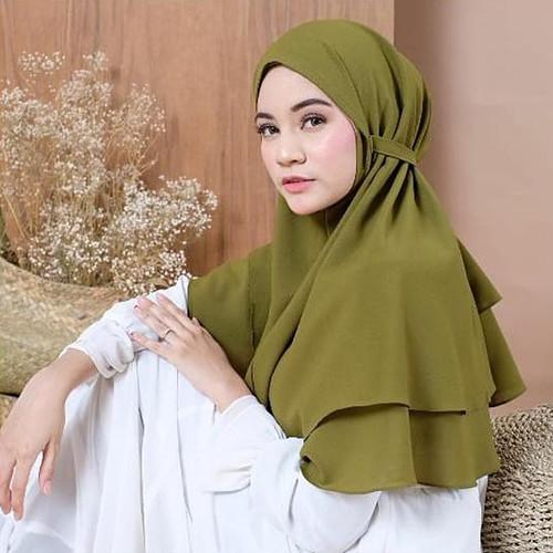 Foto Produk Jilbab Bergo Maryam 2 Layer / Hijab Instan Non Pet / Kerudung Tali - Army dari Tika Muslimah Collection