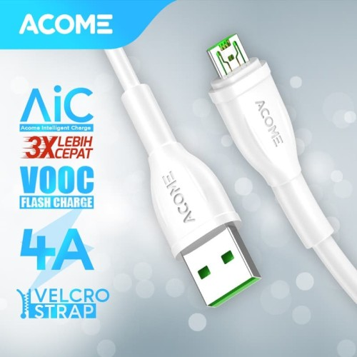 Foto Produk Kabel Micro USB Fast Charging Arus Maksimal 4A Support VOOC AVM-010 dari Acome Indonesia