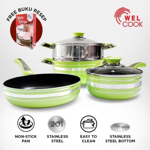 Foto Produk Welcook Panci Set Alumunium with Steamer 6 PCS- Green dari Welcook Cookware