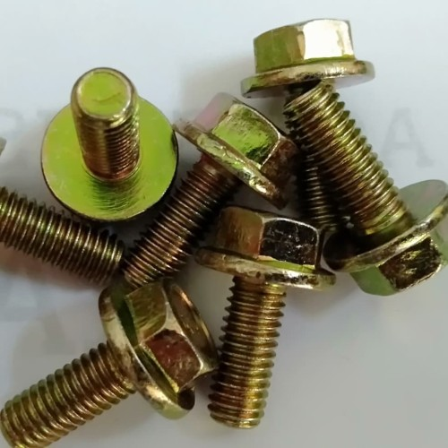 Foto Produk Baut Flange M6 x 15 Kuning / Flange bolt / Baut topi dari AA Baut Dan Mur