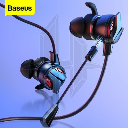 Foto Produk BASEUS Gamo H15 AUX 3.5mm Gaming Earphone Cable Handsfree Microphone - Hitam dari HimTech