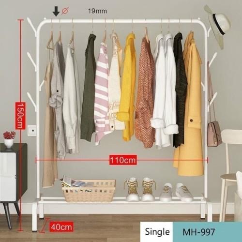 Foto Produk HB997 Rak Gantungan Baju, pakaian jemuran berdiri, big stand hanger - Hitam dari supplier beauty