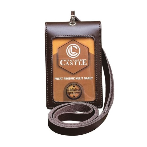 Foto Produk Id Card Holder Double Flip Magnet Tali Kulit Coklat dari D'Leather Castle