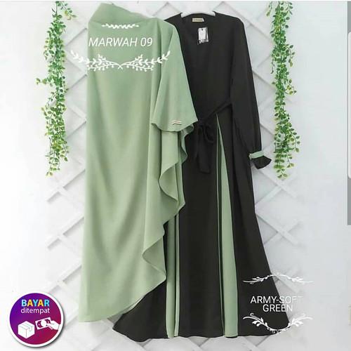 Foto Produk Marwah Gamis Set Hijab Baju Muslim Original Gamis Syari Casual - ARMY dari look180