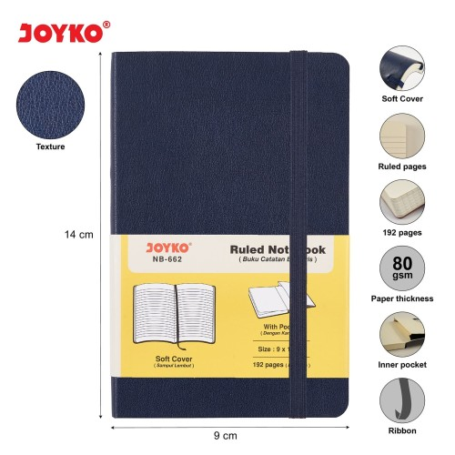Foto Produk Ruled Notebook Diary Agenda Buku Catatan Bergaris Joyko NB-662 192 hal - Blue dari JOYKO Official