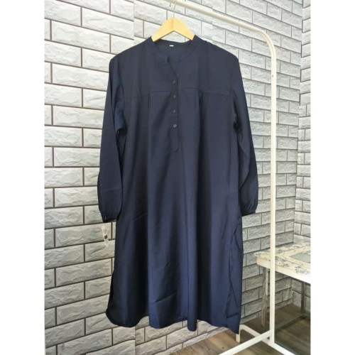 Foto Produk Tunik Polos Katun Viscose Navy - Navy, L dari bajuibukk