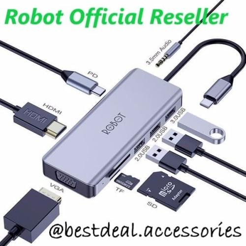 Foto Produk Robot HT390 Multiport 9in1 USB-C / Type C HUB HDMI VGA Adapter dari bestdeal official