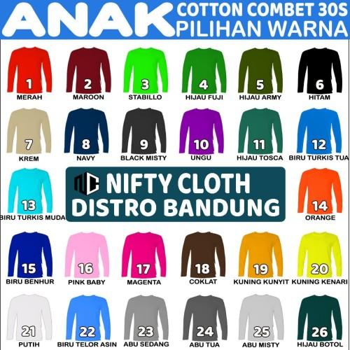 Foto Produk Kaos Polos ANAK lengan PANJANG Cotton Combet 30s - XS, Merah dari niftycloth