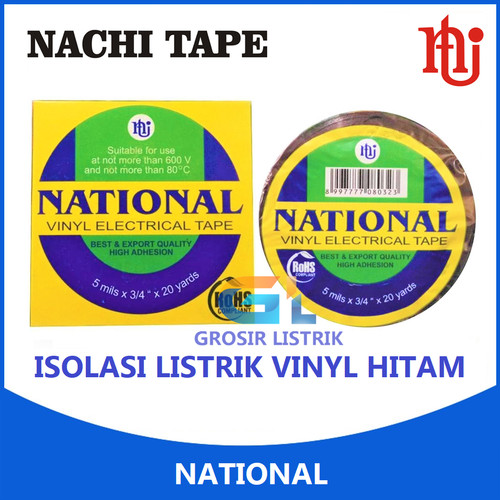 Foto Produk National Isolasi Listrik Vinyl Hitam (Electrical Tape) Solasi Original dari Grosir Listrik Online
