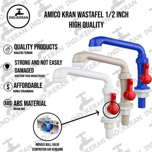 Foto Produk Kran Wastafel AMICO PVC (HIGH QUALITY) - Putih dari INDOKERAN