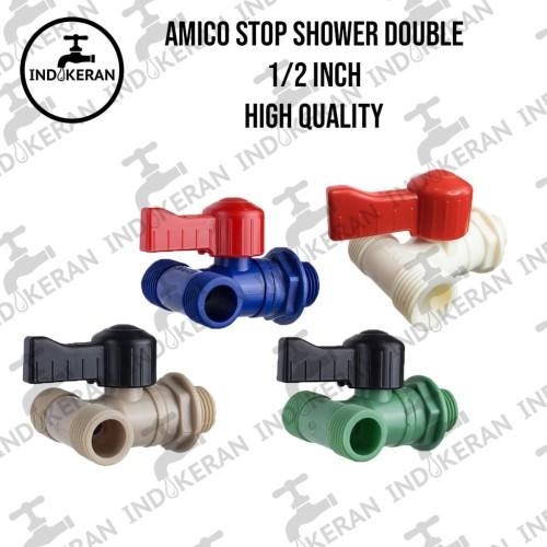 Foto Produk Kran Stop Shower Double Amico 1/2 PVC (HIGH QUALITY) - Random dari INDOKERAN