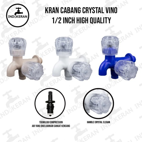 Foto Produk Keran Kran Cabang Crystal 1/2 / Kran Shower ABS VINO (HIGH QUALITY) - Putih dari INDOKERAN